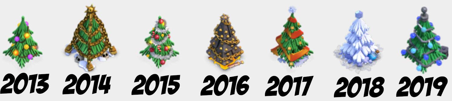 Предыдущие новогодние ёлки в Clash of Clans