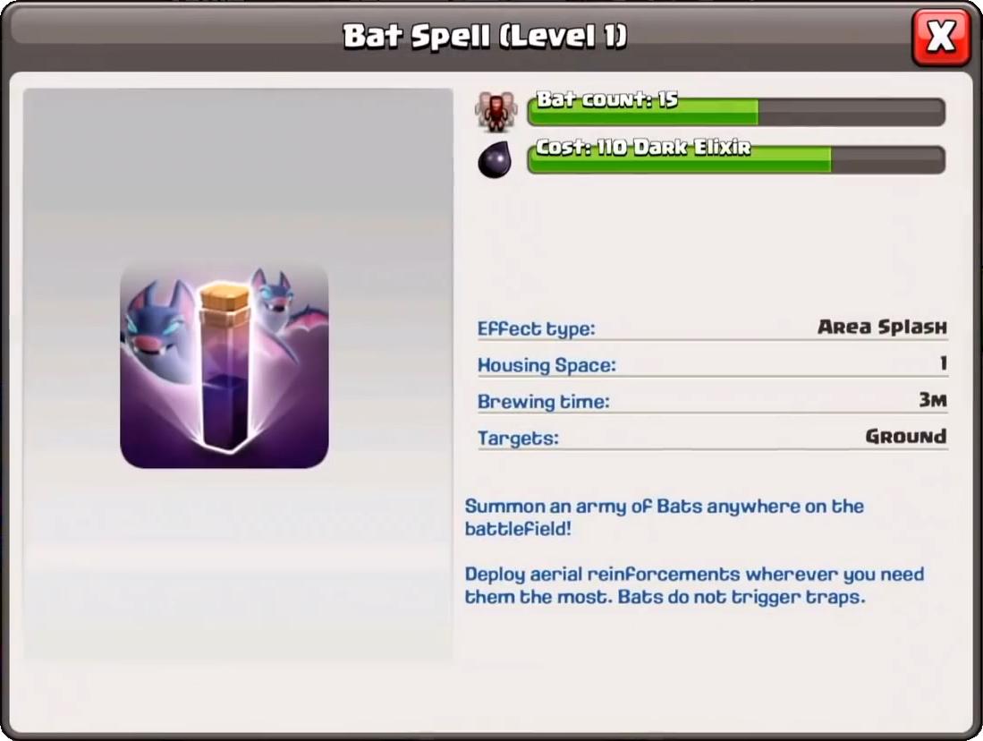 Заклинание летучих мышей/ Bat Spell в Clash of Clans